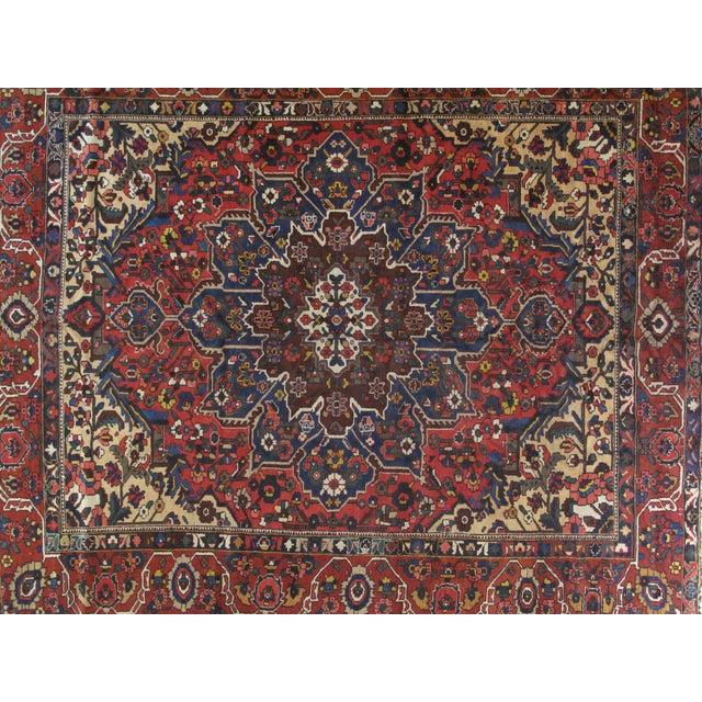 Wool pile genuine hand made vintage Persian Bakhtiar Carpet-