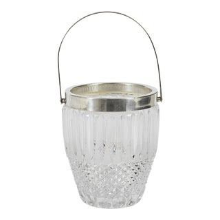 1900s Contemporary Crystal & Silver Plate Ice Bucket