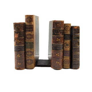 19th Century Art Nouveau Leather and Paper Book Bookends - Set of 5