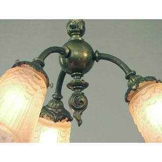 1920s French 3-Light Flush Mount Chandelier Preview