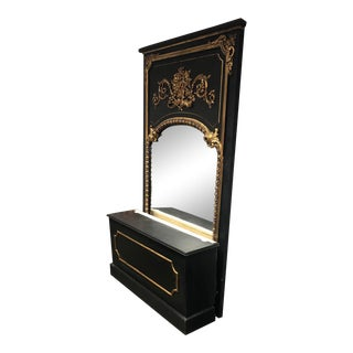 Antique French Trumeau Mirror and Custom Stand For Sale