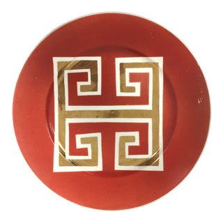 Vintage Red and Gold Greek Key Plate by Waylande Gregory For Sale