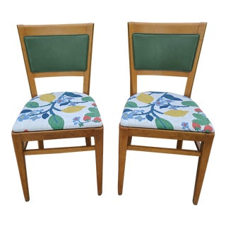 A Pair- 1950s Thonet Green Leather and MadCap Cottage Fabric Upholstered Chairs For Sale