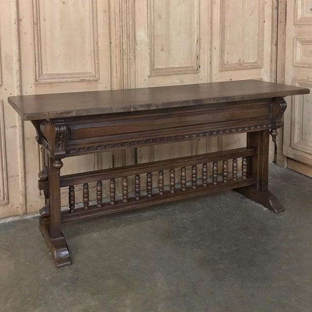 Wood Antique Spanish Renaissance Walnut Hall Table ~ Console For Sale - Image 7 of 12