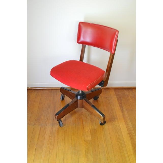 Gunlocke Red Swivel Desk Chair - Image 2 of 5