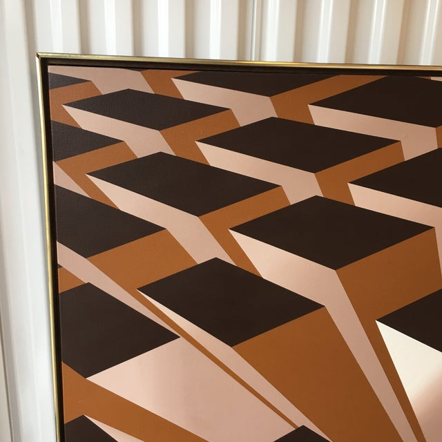 Vintage Artist Signed Geometric Op Art Acrylic on Canvas Monumental Wall Art- 5' X 5' For Sale In New York - Image 6 of 13