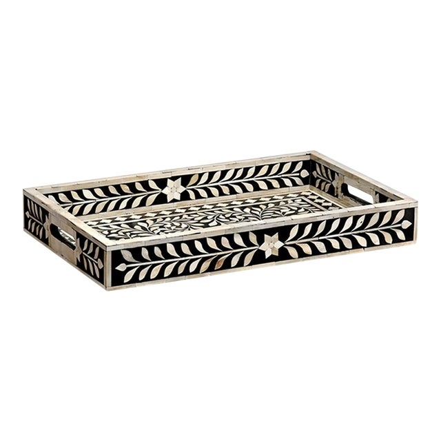 Imperial Beauty Decorative Tray in Black & White, Large For Sale