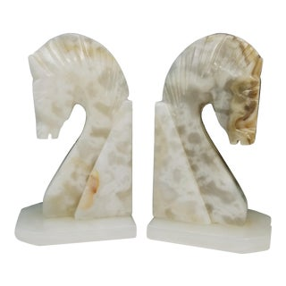 Mid Century Alabaster Marble Horse Head Bookends - a Pair