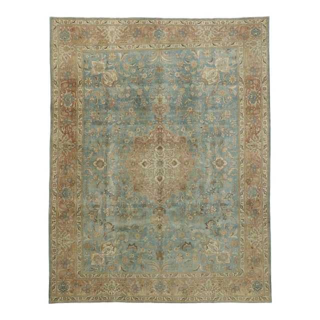 Vintage Tabriz Rug With Gustavian Style - 09'09 X 12'07 For Sale