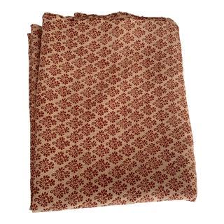 Elizabeth Eakins Hand Blocked 100% Hemp Linen Fabric- 2 Yards For Sale