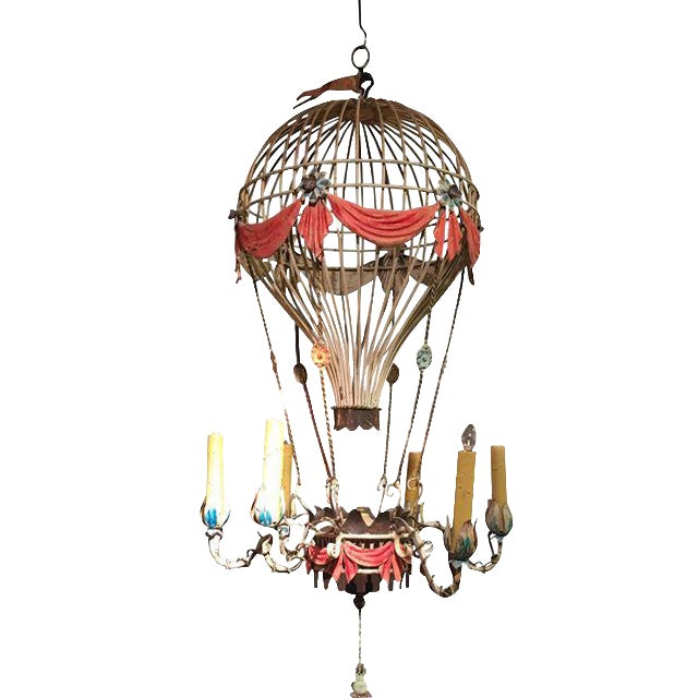 1930s vintage hot air balloon tole chandelier chairish 1930s vintage hot air balloon tole chandelier mozeypictures Images
