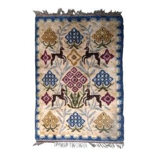 1950s handmade vintage Scandinavian Rya rug 4.3' X 6.7' For Sale