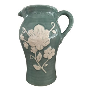 1990s Americana Teal and White Floral Painted Ceramic Pitcher