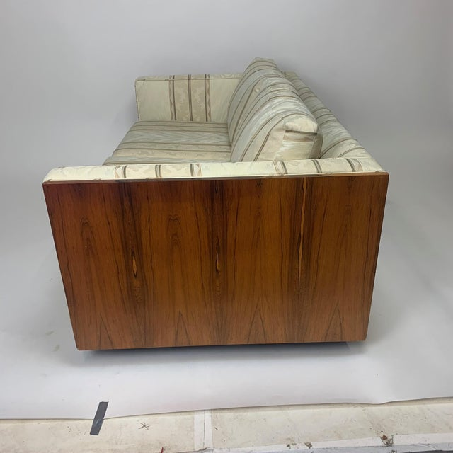 Floating Milo Baughman Cased Rosewood Tuxedo Sofas / Settees-2 Available For Sale - Image 12 of 13