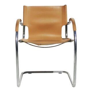 1970s Vintage Bauhaus Modern Camel Leather Chair For Sale