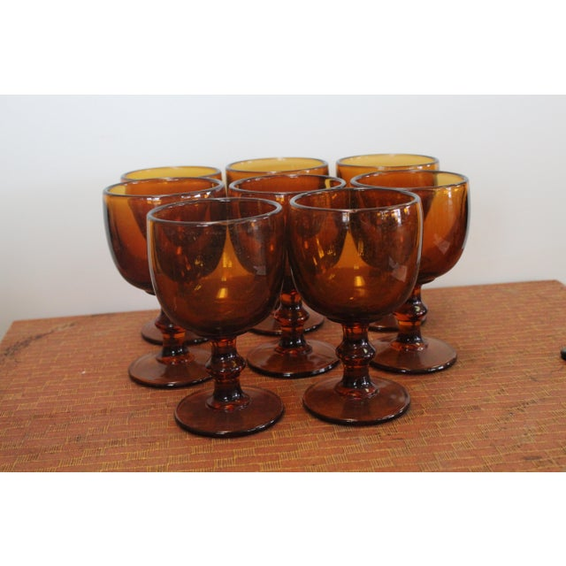 Mid 20th Century Vintage Amber Chalices - Set of 8 For Sale - Image 5 of 5