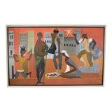 Image of Vintage Mid-Century Nativity Scene De Buren Haitian Oil Painting For Sale