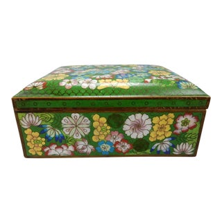 Large Antique Chinese Cloisonné Hinged Divided Box/ Humidor