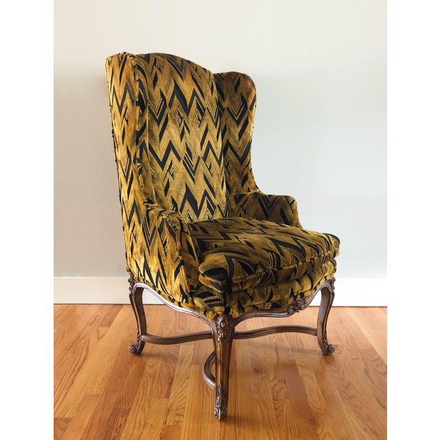Chevron Wingback Accent Arm Chair - Image 2 of 11