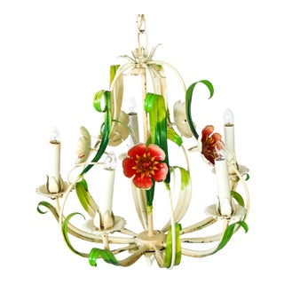 Vintage Italian Tole Red Flowers Chandelier For Sale