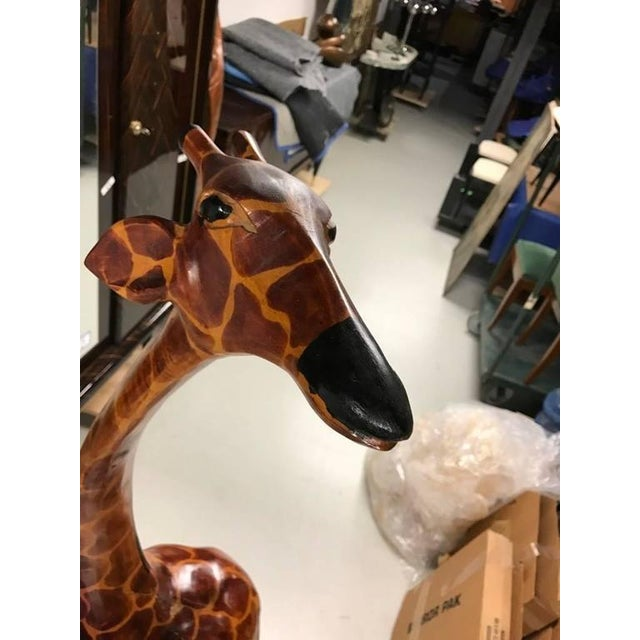 Tall Hand-Carved Wood Standing Giraffe - Image 3 of 6