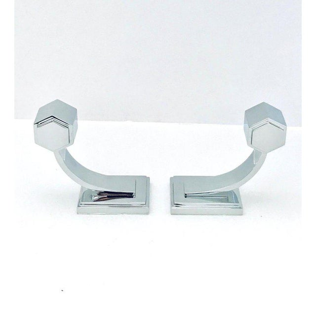 Vintage Faceted Glass and Nickel Towel Holder For Sale - Image 9 of 13