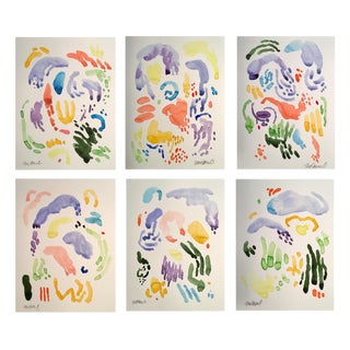 Sunny Garden Set of 6 Original Watercolor Paintings For Sale