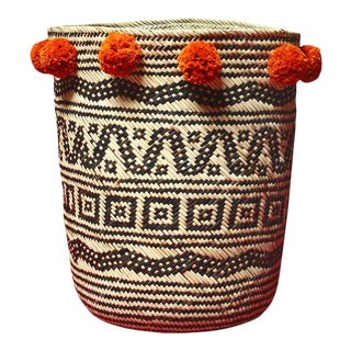 Borneo Drum Tribal Straw Basket with Ginger Orange Pom-poms