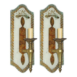 Exceptional Pair of Verre Églomisé Sconces by Maison Jansen