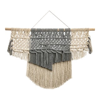 Large Gray and Cream Macrame Textile Wall Hanging For Sale