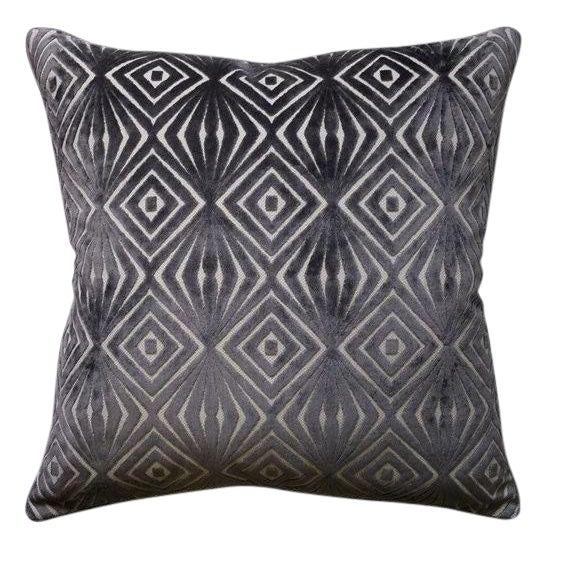 Cut Velvet Geometric Pillow For Sale
