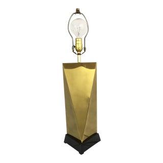 Vintage Triangular Faceted Brass Lamp on Black Base For Sale