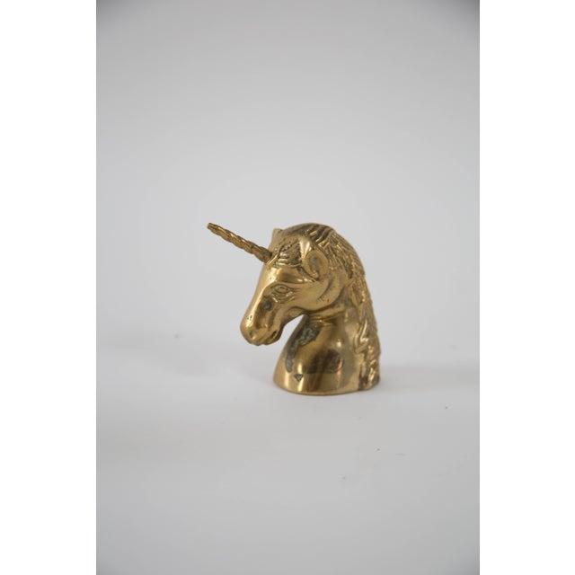 Vintage Brass Unicorn Head Figurine - Image 3 of 4