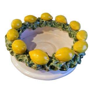 Vintage Large Heavy Ceramic 3 Dimensional Lemon Bowl or Candle Holder For Sale