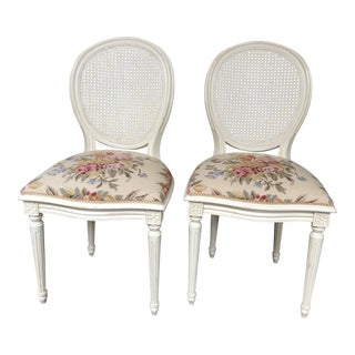1950s Vintage Cane Side Needlepoint Chair- A Pair For Sale