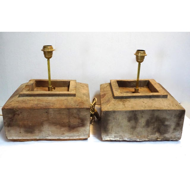 Contemporary Antique Solid Hewn Wood Block Lamps-Pair For Sale - Image 3 of 13