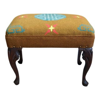 Vintage Chinoiserie Needlepoint Stool For Sale