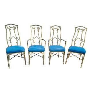 Hollywood Regency Faux Bamboo Dining Chairs - Set of 4