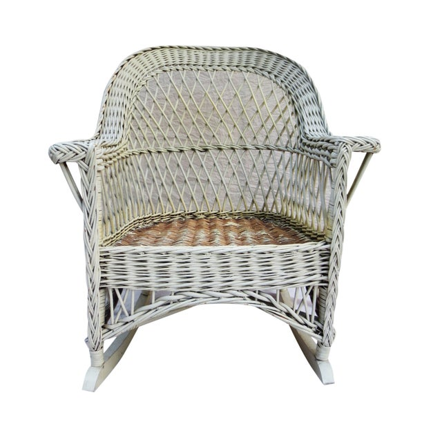 White Wicker Rocker - Image 3 of 6