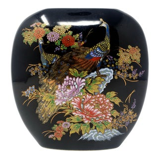 Vintage Japanese Ceramic Vase With Peacocks and Flowers For Sale