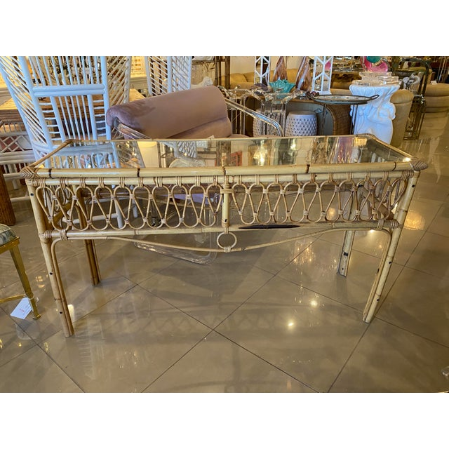 Vintage Tropical Palm Beach Rattan Glass Top Console Sofa Table For Sale - Image 11 of 12