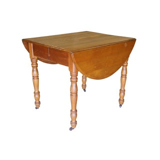 19th Century Early American Oak Drop Leaf Dining Table Turned Leg Casters Preview