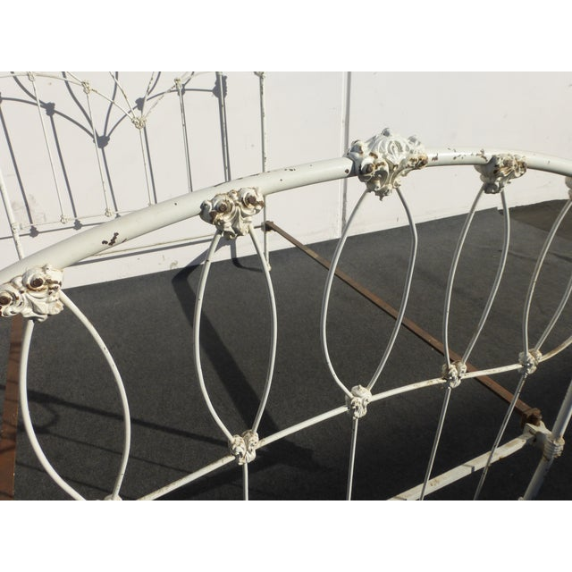 Antique French Country Full Iron Bed Frame Farmhouse Chic Headboard - Image 5 of 11