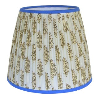 Cream Paisley Pleated Lamp Shade With Blue Trim For Sale