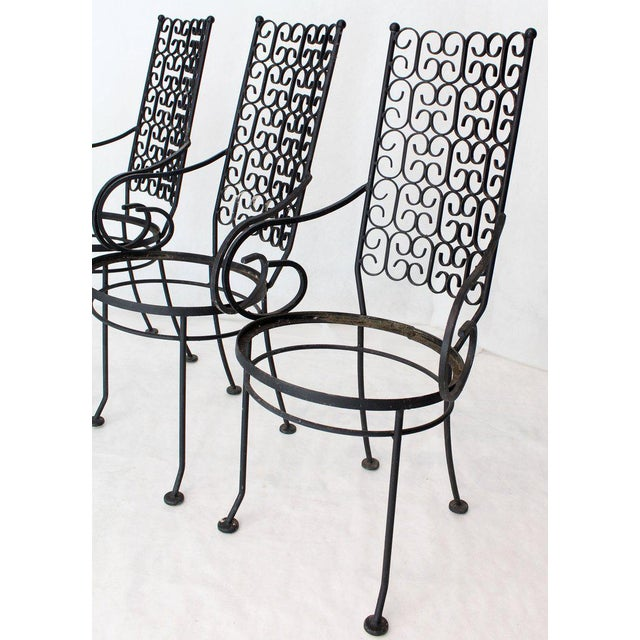 Outdoor Set of Six Armchairs With Glass Top Table, Salterini Attributed For Sale - Image 9 of 10