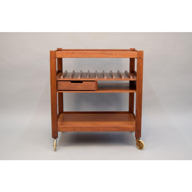 Mid-Century Teak Bar Cart With Reversible Serving Tray - Image 2 of 10