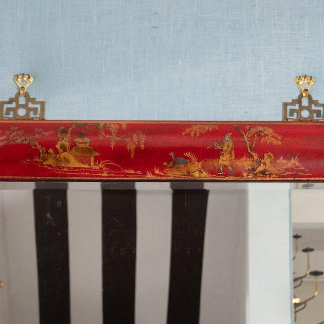 Chinoiserie Red Lacquered Mirrors - a Pair For Sale In New York - Image 6 of 11