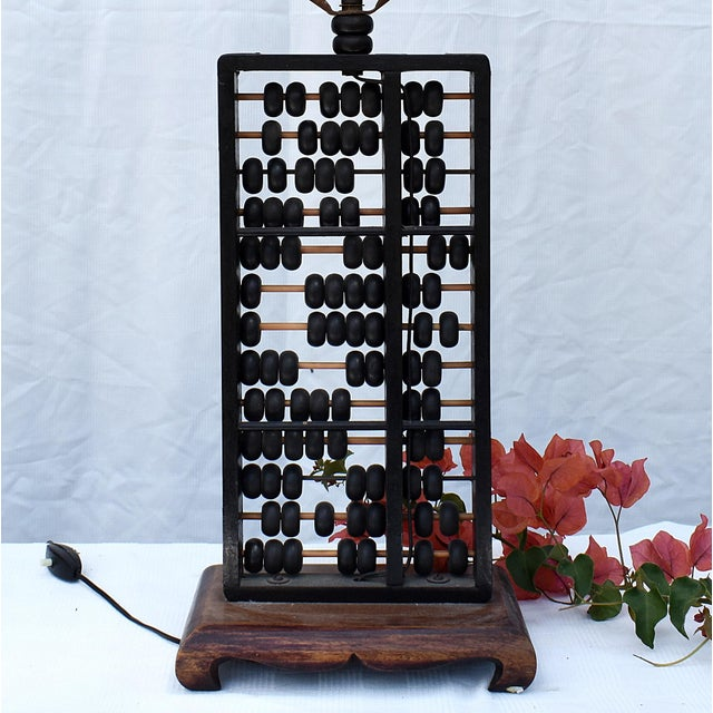 Asian Vintage Abacus Base Table Lamp For Sale - Image 3 of 6
