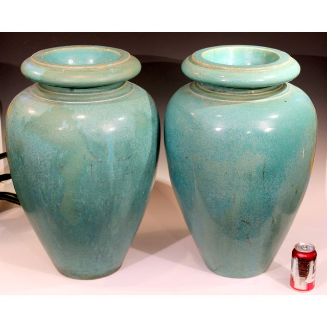 Large Pair of Galloway Terracotta Company Pottery Turquoise Urns Vases For Sale - Image 10 of 12