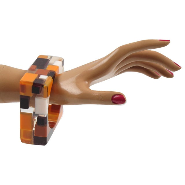 Gorgeous chunky extra wide geometric Lucite bracelet bangle. Oversized square carved shape with colorful inclusions. Build...